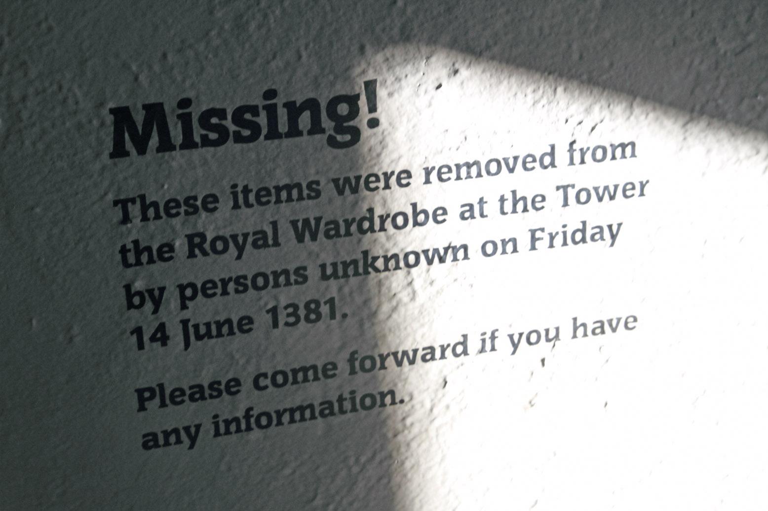 Objetos robados de la Torre de Londres.