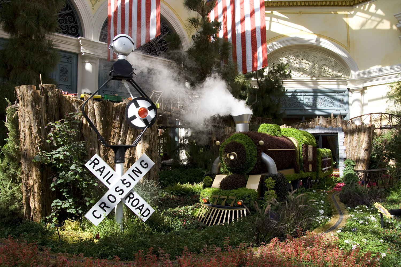 Tren de setos en el hotel y casino Bellagio en Las Vegas