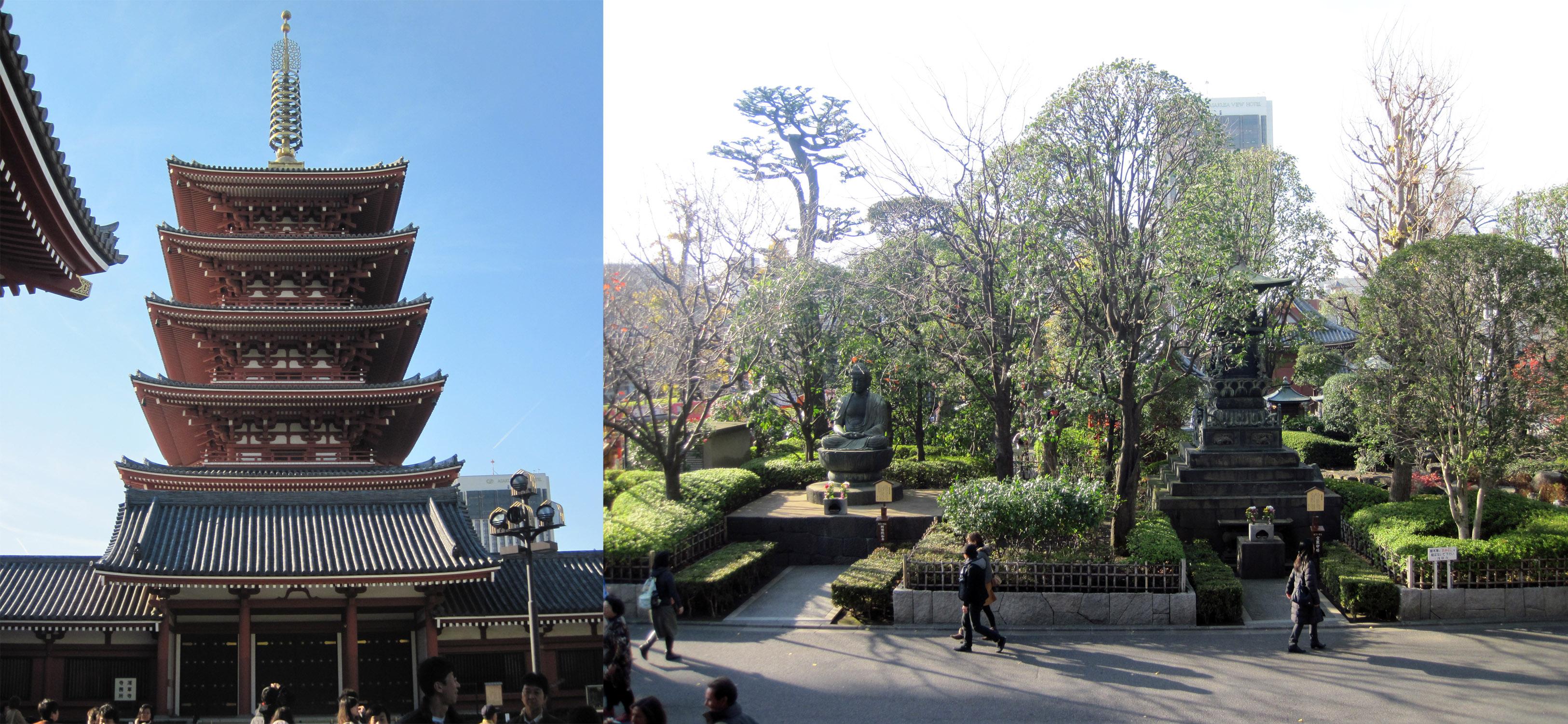 Pagoda y jardines del templo Senso-ji