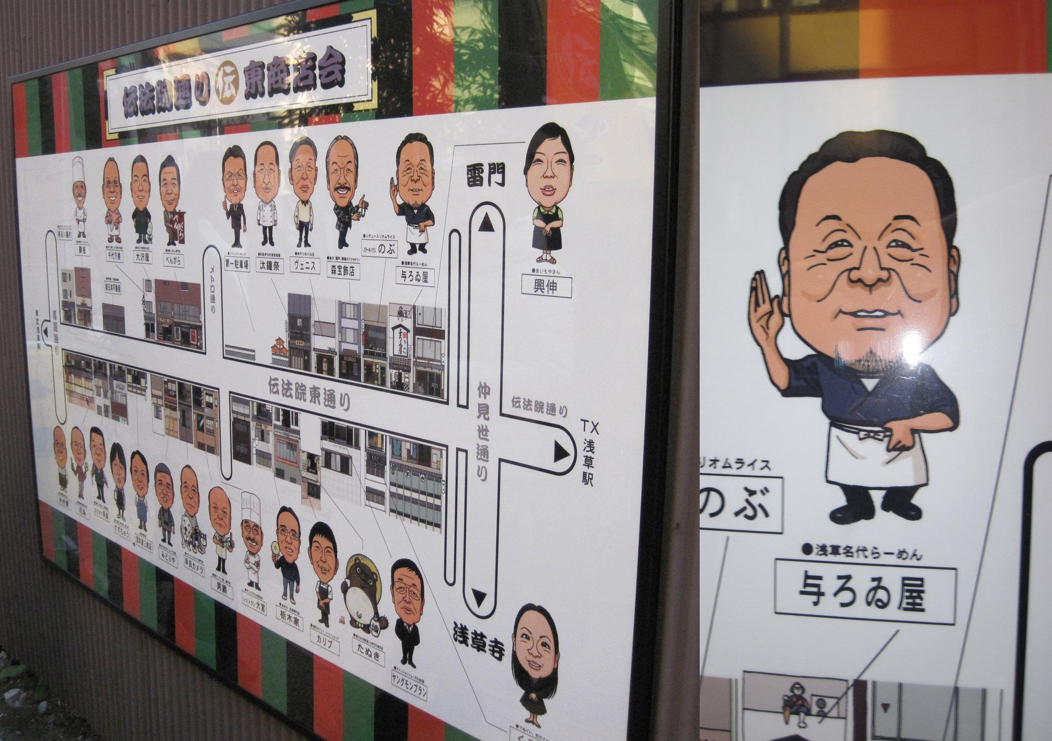 Relación de propietarios de comercios en Asakusa
