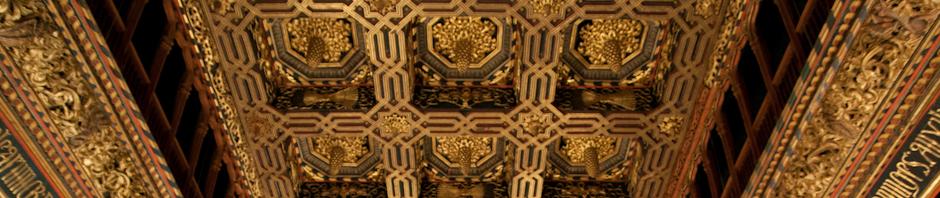 Artesonado de la sala del trono del Palacio de la Aljafería, Zaragoza, España
