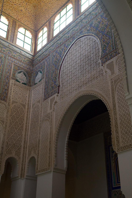 Detalle del interior del mausoleo de Moulay Ismail - Meknès, Marruecos
