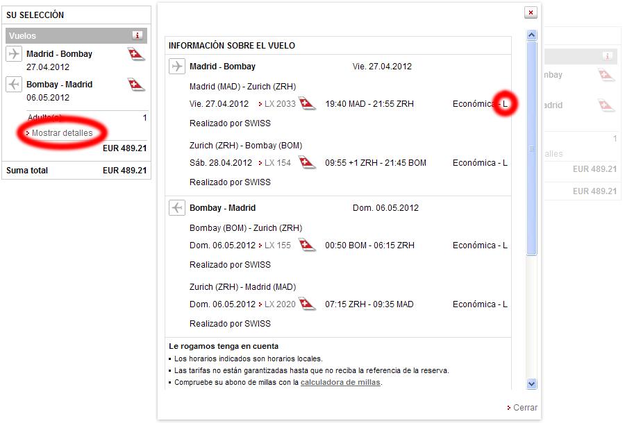 Dónde encontrar el código de tarifa al reservar en la web de Swiss Airlines
