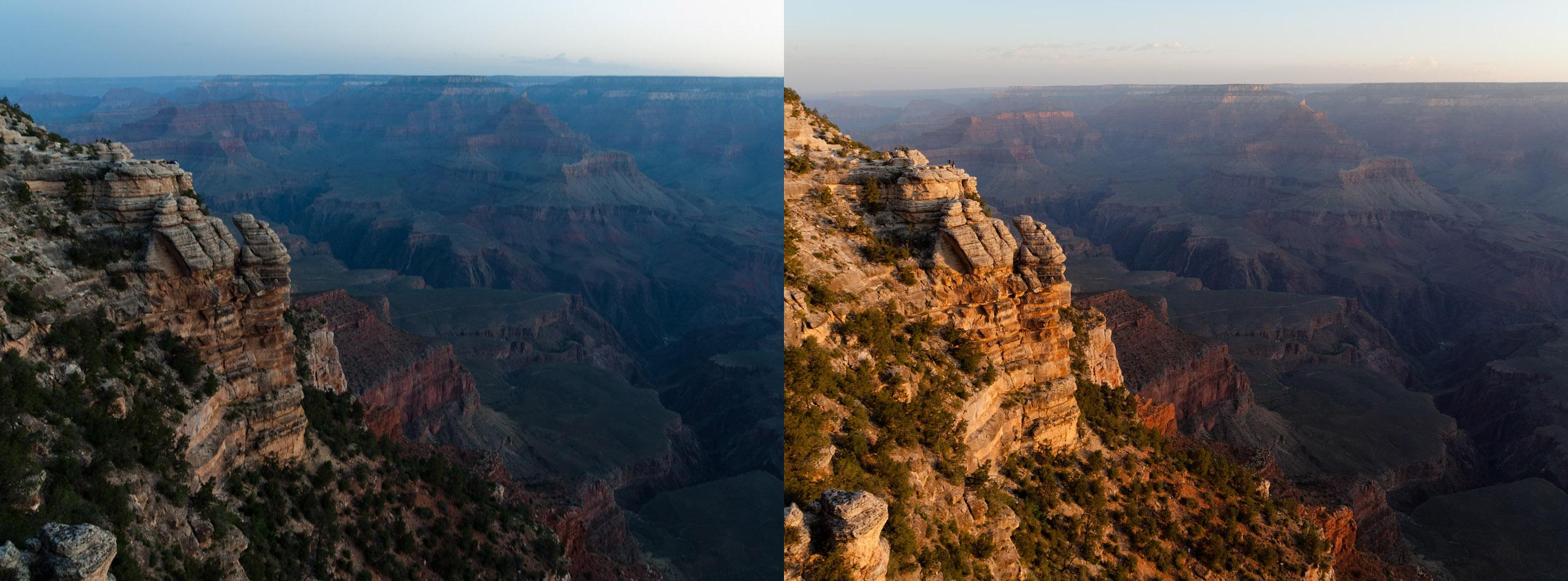 El Gran Cañón despierta: antes y después de la salida del sol