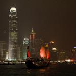 Vista nocturna del puerto Victoria, Hong Kong