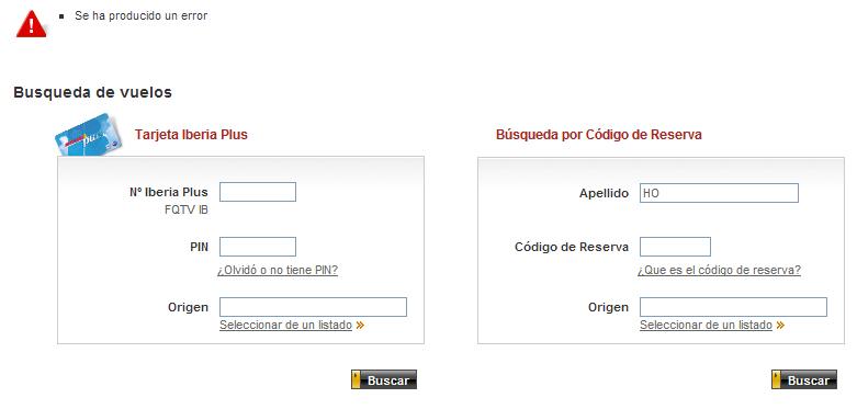 Error en la web de Iberia al tratar de facturar con un apellido de menos de tres letras