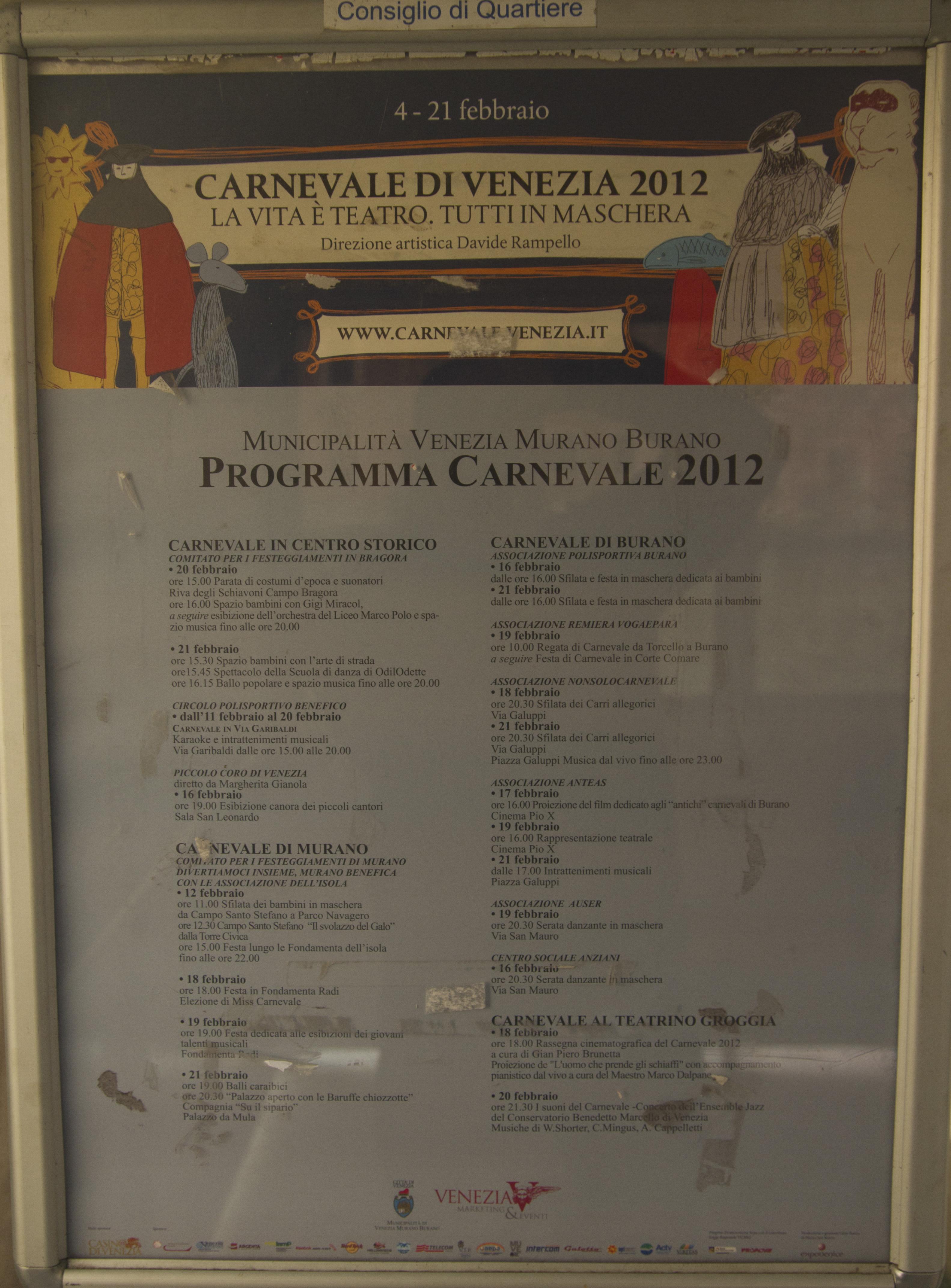 Programa de actividades del carnaval de Venecia 2012