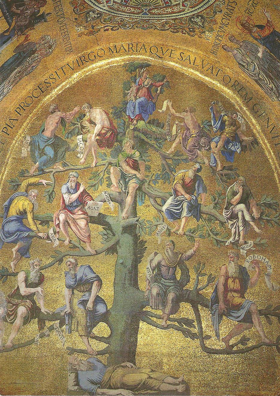 Postal del árbol genealógico de la Virgen María