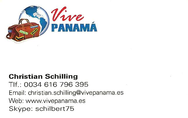 Tarjeta de presentación de Christian Schilling de Vive Panamá