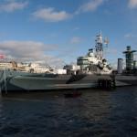 El HMS Belfast, un antiguo crucero ligero de la armada británica, hoy día museo en Londres, Reino Unido