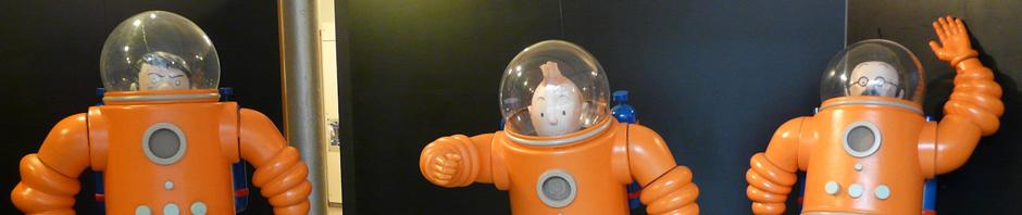 Representación de los personajes del cómic de Tintin, Aterrizaje en la Luna, en el Museo del Cómic de Bruselas, Bélgica