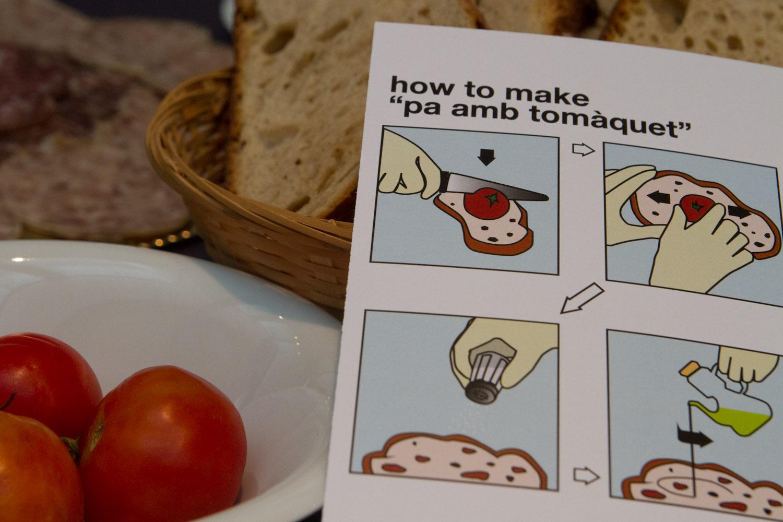 Instrucciones para preparar pa amb tomàquet, cortesía de Turismo de Gerona/Costa Brava, en el TBEX Girona 2012