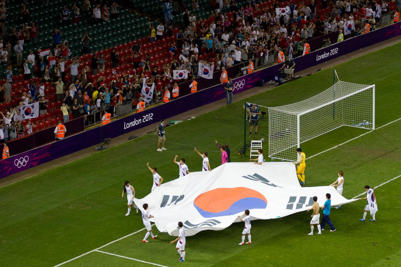 Celebración del equipo de fútbol masculino de Corea del Sur en las Olimpiadas de Londres 2012