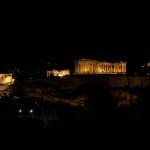 Panorámica de la acrópolis de Atenas de noche, Grecia