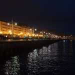 Paseo de Pereda y Club Marítimo de noche, Santander, España