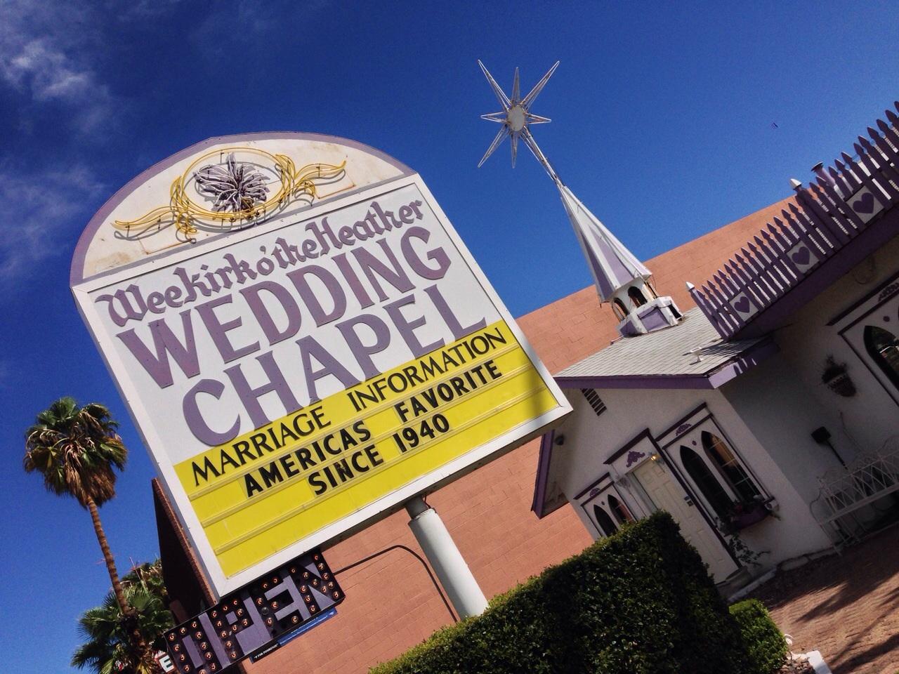 Una de las capillas de boda de Las Vegas, la favorita de los estadounidenses desde 1940, como reza en su anuncio.