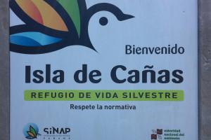 Letrero de bienvenida a Isla Cañas, Panamá
