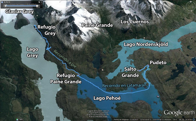 Recorrido del día 1 en la W invertida en las Torres del Paine, Chile
