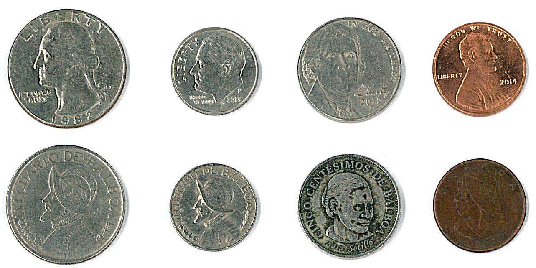 Monedas De Centavos Estadounidenses Y Panameñas
