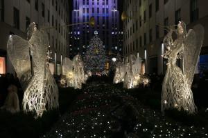 Árbol y decoración de navidad en el Rockefeller Center, Nueva York, EE.UU.