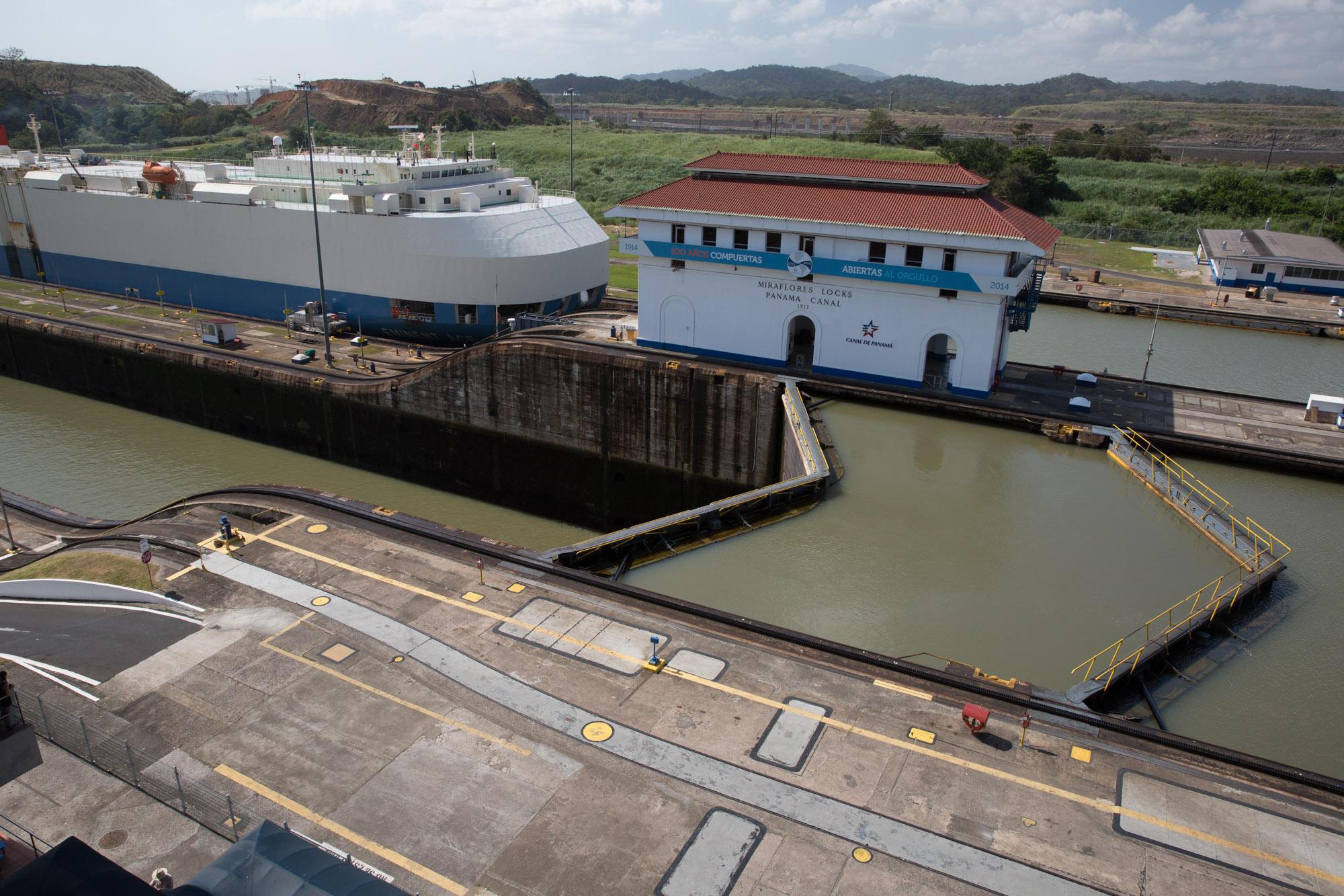 Las esclusas de Miraflores del canal de Panamá