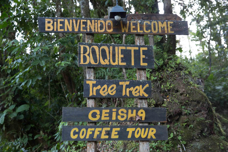 Letrero de entrada a Boquete Tree Trek, Panamá